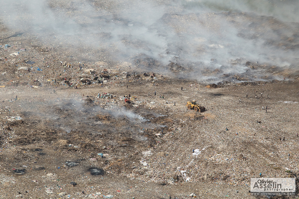 Aerial view of the main garbage dump in Dakar, Senegal.