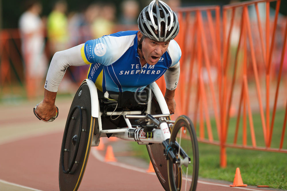 Falmouth Road Race: invitational wheelchair mile, men's winner Krige Schabort
