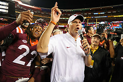Sep 3, 2017; Landover, MD, USA; Virginia Tech Hokies head coach Justin Fuente speaks to the crowd after beating the West Virginia Mountaineers at FedEx Field. Mandatory Credit: Ben Queen-USA TODAY Sports
