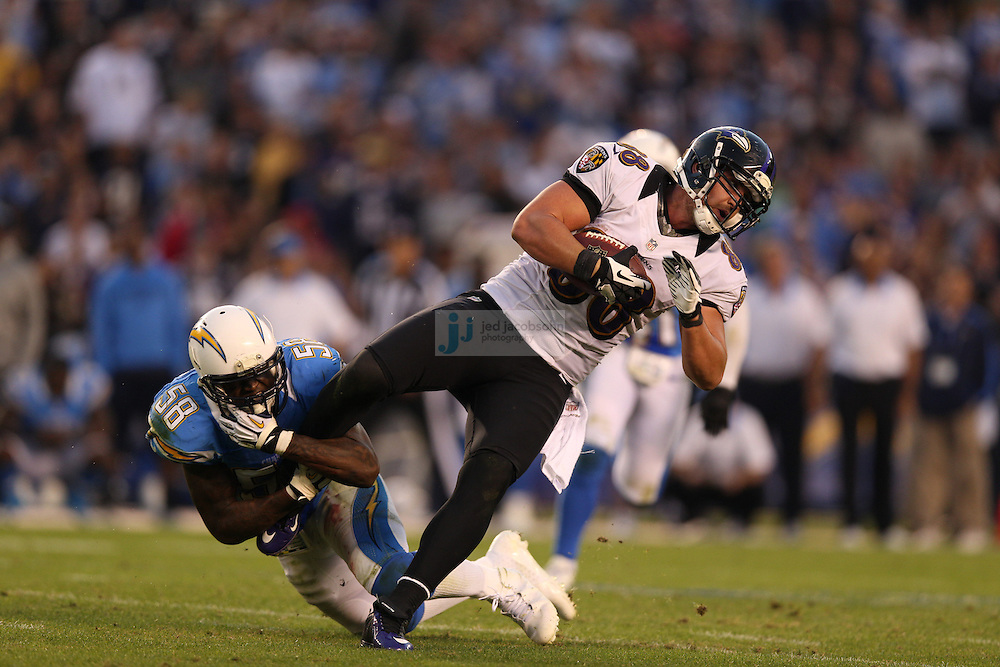 Baltimore Ravens tight end Dennis Pitta (88) in action against the San Diego Chargers during an NFL game on Sunday, November 25, 2012 in San Diego, CA.  (Photo by Jed Jacobsohn)