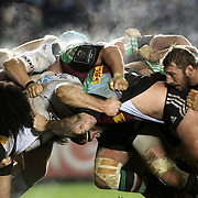 Players from Harlequins and Wasps scrum during the European Rugby Champions Cup match at Twickenham Stoop, London