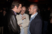 Jack Davenport, Toby Young,  and Tim Fountain. 'How to lose Friends and alienate people' by Toby Young performed at the  Soho Theatre, party at Opium. 30 April 2003. © Copyright Photograph by Dafydd Jones 66 Stockwell Park Rd. London SW9 0DA Tel 020 7733 0108 www.dafjones.com