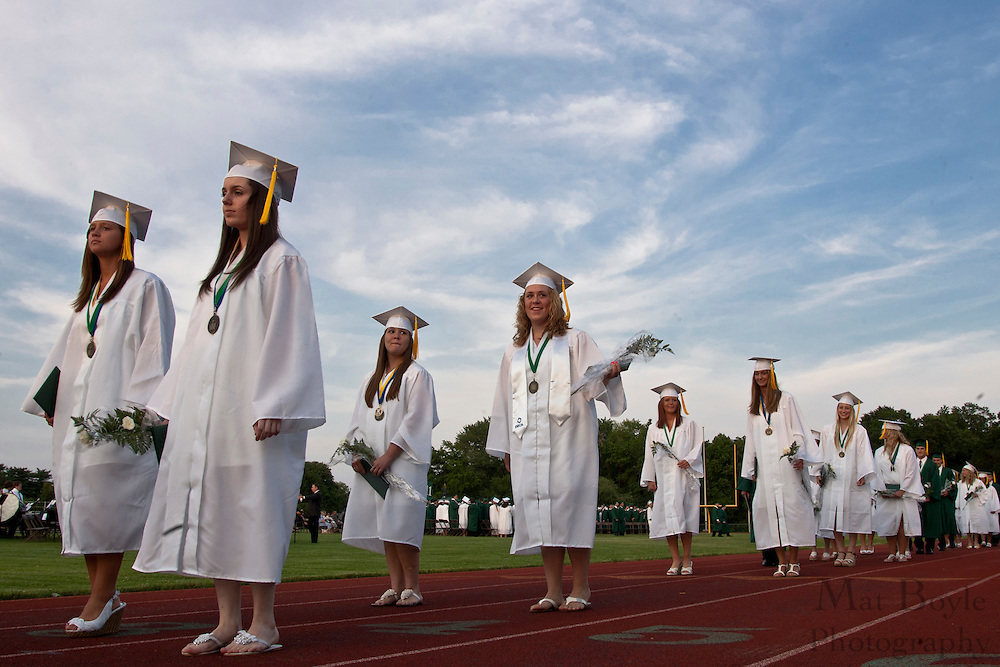 Seniors process out at the end of graduation.
