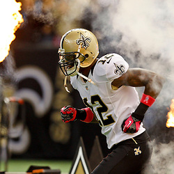 October 7, 2012; New Orleans, LA, USA; New Orleans Saints wide receiver Marques Colston (12) during introductions before a game  against the San Diego Chargers at the Mercedes-Benz Superdome. Mandatory Credit: Derick E. Hingle-US PRESSWIRE