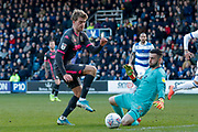 Leeds United forward Patrick Bamford (9) is brought down for a penalty kick during the EFL Sky Bet Championship match between Queens Park Rangers and Leeds United at the Kiyan Prince Foundation Stadium, London, England on 18 January 2020.