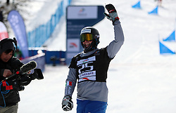 ZHANGJIAKOU, Feb. 24, 2019  Daniele Bagozza (R) of Italy celebrates during the men's Parallel Slalom final of FIS Snowboard World Cup 2018-2019 in Zhangjiakou of north China's Hebei Province, on Feb. 24, 2019. Daniele Bagozza won the first. (Credit Image: © Xinhua via ZUMA Wire)