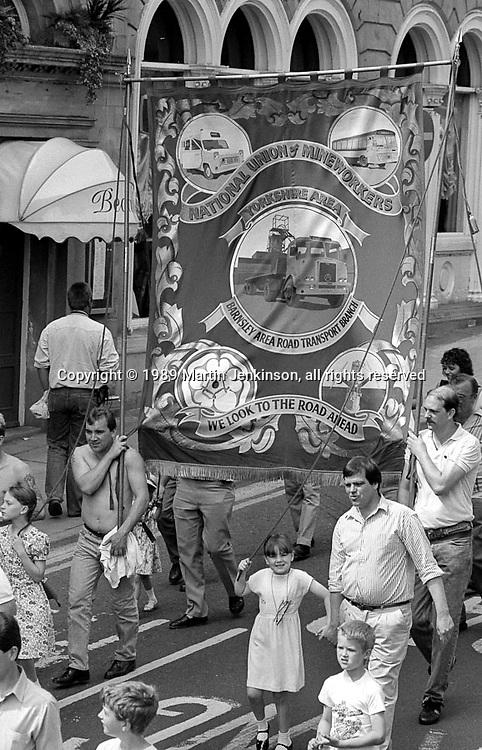 Barnsley Area Road Transport Branch banner. NUM Centenary Demonstration and Gala, Barnsley.