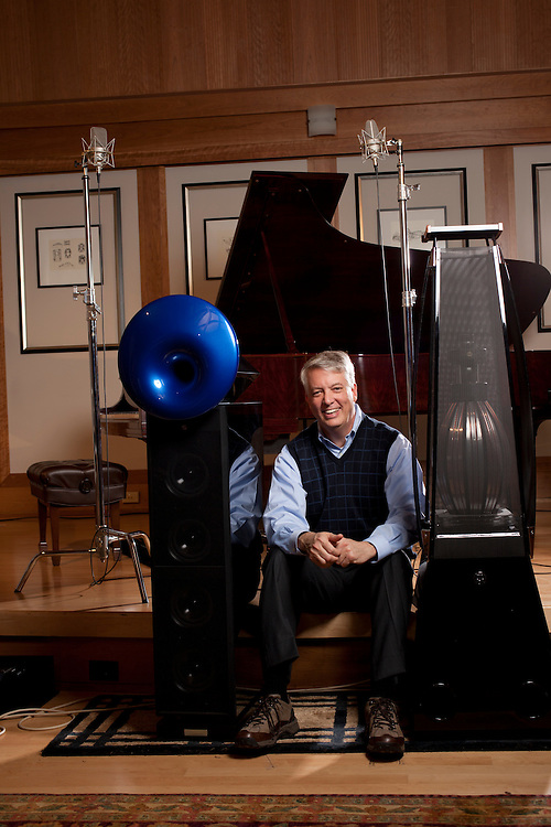 """John Q. Walker, founder of Zenph Sound Innovations, listens to a modified 1909 Steinway grand piano play a version of the Star Spangled Banner as Rachmaninoff would have played based upon quantitative detail rendered from years of research by Zenph engineers outside Raleigh, North Carolina, December 6, 2010. """"Reperformance,"""" is what Walker calls the process. """"We had to invent the word--so we did.""""."""