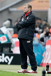 05.05.2012, Rhein Energie Stadion, Koeln, GER, 1. FC Koeln vs FC Bayern Muenchen, 34. Spieltag, im Bild Frank SCHAEFER (Trainer 1.FC Koeln) Frust, frustriert, enttaeuscht, enttaeuschung, Emotionen // during the German Bundesliga Match, 34th Round between 1. FC Cologne and Bayern Munich at the Rhein Energie Stadium, Cologne, Germany on 2012/05/05. EXPA Pictures © 2012, PhotoCredit: EXPA/ Eibner/ Gerry Schmit..***** ATTENTION - OUT OF GER *****