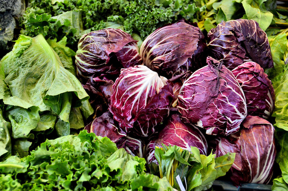 Romaine, Green Leaf and Red Radicchio Lettuce at Farmers Market in Vancouver, Canada