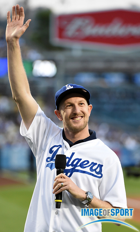 Apr 13, 2016; Los Angeles, CA, USA; IndyCar series driver Charlie Kimball attends a MLB game between the Arizona Diamondbacks and the Los Angeles Dodgers at Dodger Stadium.