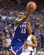 Kansas guard Mario Chalmers goes to the basket against Kansas State, during the first half at Bramlage Coliseum in Manhattan, Kansas, March 4, 2006.  The Jayhawks won 66-52.