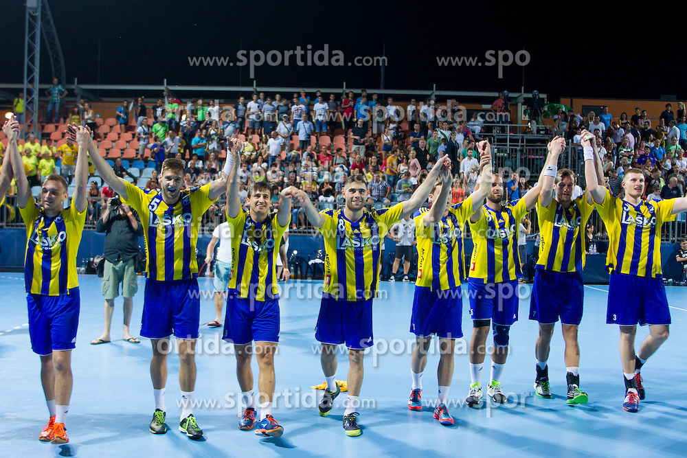 Players of RK Celje Pivovarna Lasko celebrate aftrer handball match between RK Celje Pivovarna Lasko vs RK Gorenje Velenje of Super Cup 2015, on August 29, 2015 in SRC Marina, Portoroz / Portorose, Slovenia. Photo by Urban Urbanc / Sportida