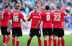 Cardiff City's Graig Noone celebrates his goal with team mates - Photo mandatory by-line: Dougie Allward/Josephmeredith.com  - Tel: Mobile:07966 386802 27/10/2012 - SPORT - FOOTBALL - Championship -  Cardiff  - New Cardiff City stadium - Cardiff City V Burnley