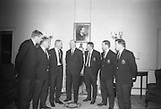 President de Valera received the members and officials of the Irish Rugby touring team, prior to their departure for Australia on Saturday 22.4.67, .Picture shows the President, centre, chatting with, from left-right, Mcbride, McKibban, Assistant Honarary Manager, Eugene Davy, Honarary Manager, President de Valera, Tom Kiernan, Captain, Michael Gibson and Mike Doyle at Aras an Uachtarain,..Irish Rugby Football Union, Irish team departs for Australian tour, 22nd April 1967, 22.4.67, 4.22.67,.
