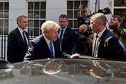 On the day that the Conservative Party elects its leader and the country's Prime Minister, Boris Johnson gets into his car to drive to the QE2 Centre nearby for the election result, on 23rd July 2019, in Westminster, London, England.