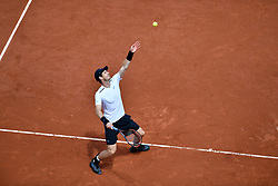 PARIS, June 5, 2017  Andy Murray of Britain serves during the men's singles fourth round match against Karen Khachanov of Russia at the French Open Tennis Tournament 2017 in Paris, France, on June 5, 2017. (Credit Image: © Chen Yichen/Xinhua via ZUMA Wire)