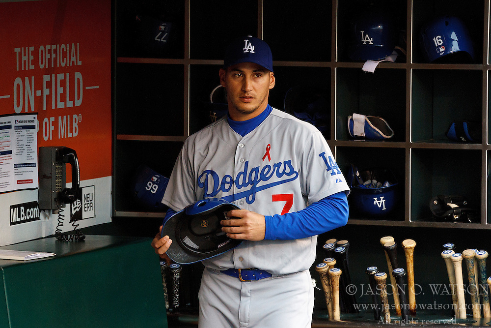 SAN FRANCISCO, CA - MAY 20:  Alex Guerrero #7 of the Los Angeles Dodgers stands in the dugout before the game against the San Francisco Giants at AT&T Park on May 20, 2015 in San Francisco, California.  The San Francisco Giants defeated the Los Angeles Dodgers 4-0. (Photo by Jason O. Watson/Getty Images) *** Local Caption *** Alex Guerrero