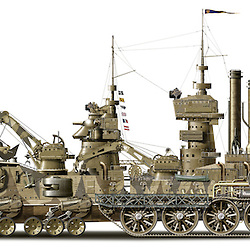 Steampunk concept illustration of a Victorianesque amphibious steam powered armoured vehicle.