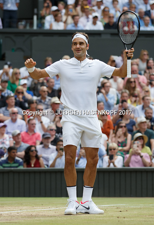 Sieger ROGER FEDERER (SUI),jubelt,Jubel,Freude,Emotion, Endspiel, Final<br /> <br /> Tennis - Wimbledon 2016 - Grand Slam ITF / ATP / WTA -  AELTC - London -  - Great Britain  - 16 July 2017.