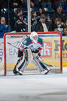 KELOWNA, CANADA - JANUARY 26: Jordon Cooke #30 of the Kelowna Rockets stands in net opposite the Prince Albert Raiders at the Kelowna Rockets on January 26, 2013 at Prospera Place in Kelowna, British Columbia, Canada (Photo by Marissa Baecker/Shoot the Breeze) *** Local Caption ***