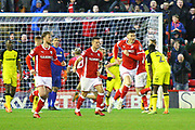 Barnsley's Daniel Pinillos scores a goal and celebrates 1-2 during the EFL Sky Bet Championship match between Barnsley and Burton Albion at Oakwell, Barnsley, England on 20 February 2018. Picture by John Potts.