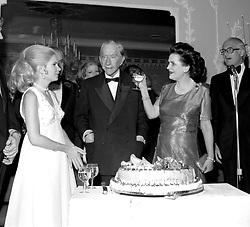 Left to right, MISS PATRICIA NIXON daughter of former US president Richard Nixon, PAUL GETTY and MARGARET, DUCHESS OF ARGYLL at Paul Getty's 80th birthday party at The Dorchester Hotel, Park Lane, London on 14t December 1972.