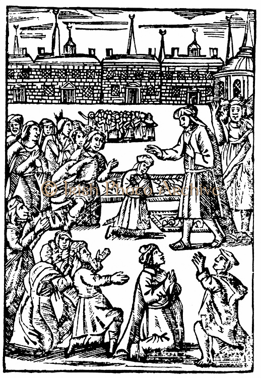 Shabbetai Zevi (1626-1676) Turkish-born Jew who claimed to be the Messiah. Here blessing Jewish congregation at Smyrna c1665. From 'The Counterfeit Messiah or False Christ of the Jews'. Woodcut