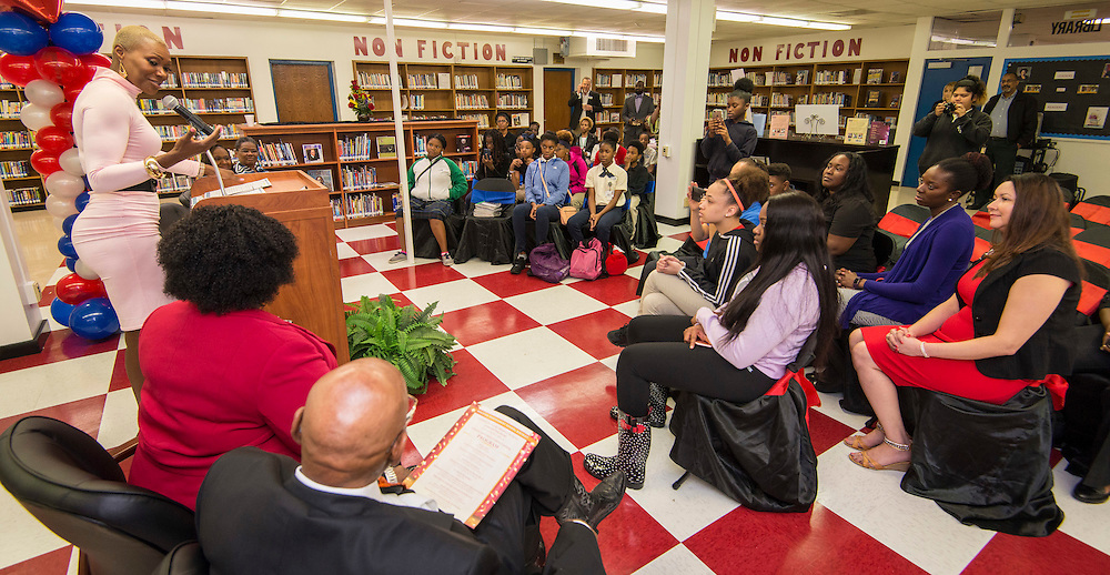 Houston ISD Trustee Jolanda Jones comments during a library dedication at Attucks Middle School, January 18, 2017.