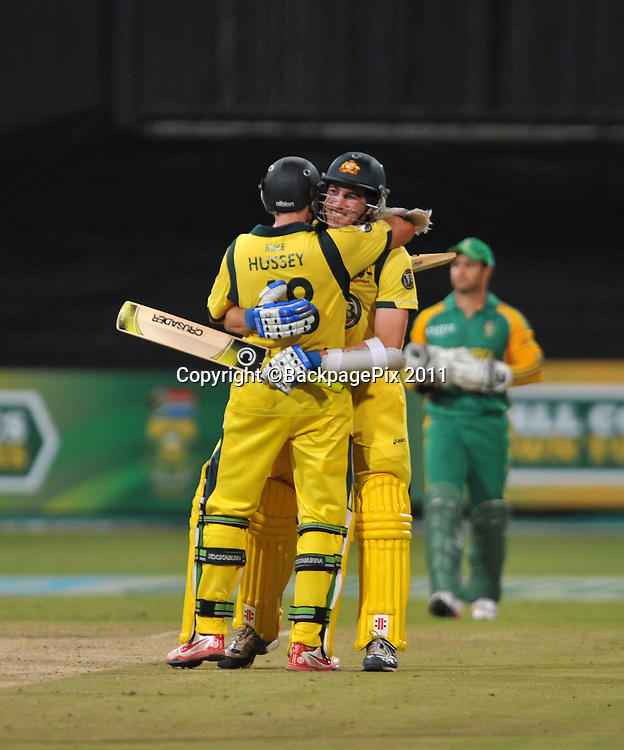 Michael Hussey and Pat Cummins of Australia celebrate winning the Series by 2-1 <br /> <br /> &copy; Sabelo Mngoma/BackpagePix