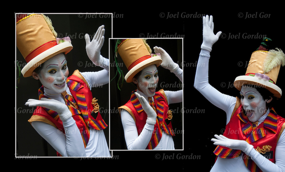 Portrait of a Guatemalan American  dressed in folk clown costume showing his ethnic pride and culture before the start of the Hispanic Heritage Parade in New York City.<br /> <br /> Mime - GOR-90159-12<br /> Mime - GOR-90156-12<br /> Mime - GOR-90157-12