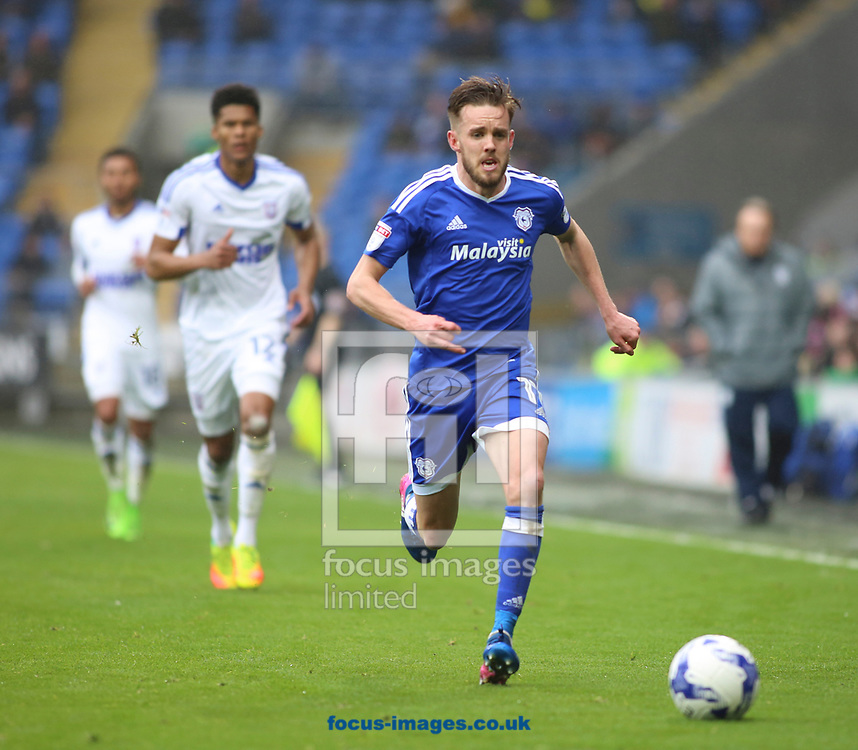 Craig Noone of Cardiff City and Jordan Spence of Ipswich Town during the Sky Bet Championship match at the Cardiff City Stadium, Cardiff<br /> Picture by Mike Griffiths/Focus Images Ltd +44 7766 223933<br /> 18/03/2017