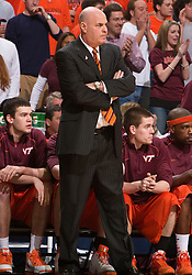 Virginia Tech head coach Seth Greenberg.  The Virginia Cavaliers defeated the Virginia Tech Hokies 75-61 at the John Paul Jones Arena on the Grounds of the University of Virginia in Charlottesville, VA on February 18, 2009.
