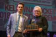 KELOWNA, CANADA - MARCH 18:  Most Sportsmanlike Award Sponsored by Popeye's Kelowna.  The award was presented by Marlene Trelenberg to Leif Mattson at the Kelowna Rockets Awards Ceremony on March 18, 2018 at The Kelowna Community Theatre  in Kelowna, British Columbia, Canada.  (Photo By Cindy Rogers/Nyasa Photography,  *** Local Caption ***