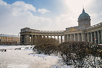 View of the Kazan Cathedral in St. Petersburg in Russia during winter time.