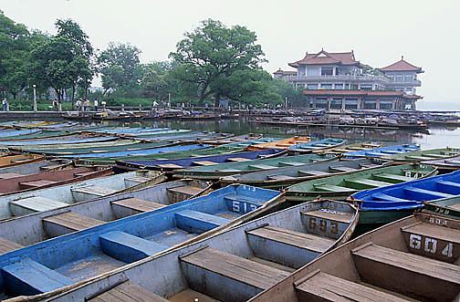 China, Cities, Boats on West Lake. Hangzhou, China.