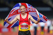 Callum WILKINSON celebrates after winning the Men's 5000m Walk in a new national record of 18:41.23 during the Muller British Athletics Championships at Alexander Stadium, Birmingham, United Kingdom on 25 August 2019.