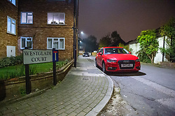 © Licensed to London News Pictures. 31/10/2019. London, UK. A street sign at the entrance to Westglade Court, Harrow where police were called at 19:13GMT to reports of a man having been attacked. Metropolitan Police officers attended with London Ambulance Service and found a man, aged in his 30's, suffering from a stab injury to his hand. Another man, also aged in his 30's, was found with a stab injury to his head. Both have been taken to hospital by LAS with non-life-threatening injuries. Photo credit: Peter Manning/LNP