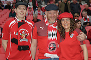 Barnsley fans before the Johnstone's Paint Trophy Final between Barnsley and Oxford United at Wembley Stadium, London, England on 3 April 2016. Photo by Mark P Doherty.