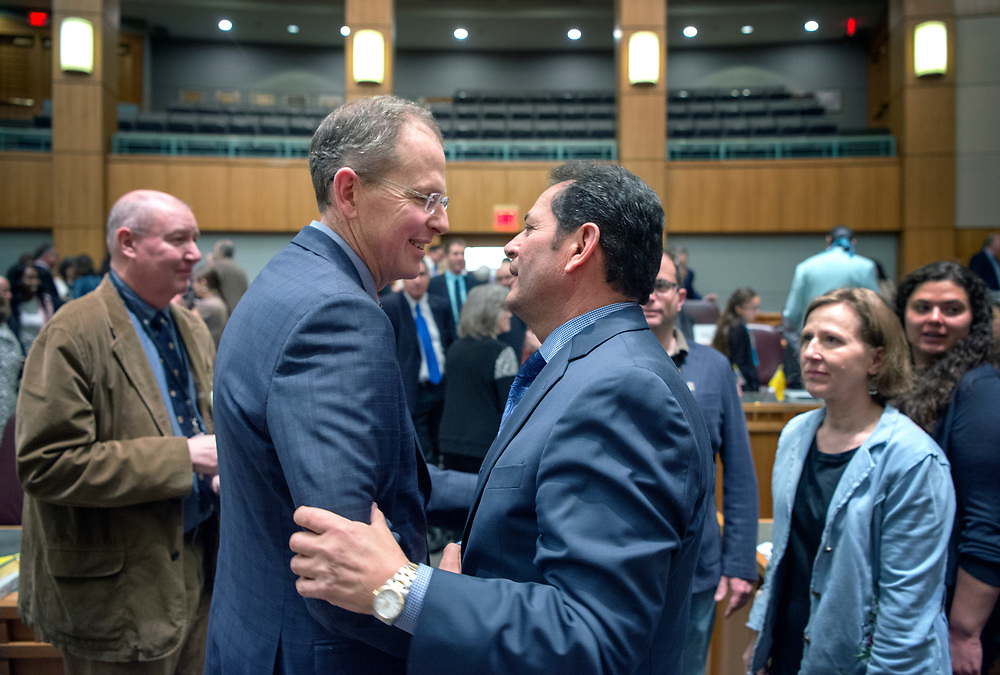 em031817f/a/Sen. Majority Leader Peter Wirth, D-Santa Fe, left, and Lt. Gov. John Sanchez greet each other after the end of the 2017 Legislative Session at the Roundhouse in Santa Fe, Saturday March 18, 2017. (Eddie Moore/Albuquerque Journal