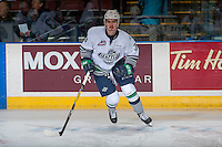 KELOWNA, CANADA - DECEMBER 7: Anthony Bishop #3 of the Seattle Thunderbirds warms up against the Kelowna Rockets on December 7, 2016 at Prospera Place in Kelowna, British Columbia, Canada.  (Photo by Marissa Baecker/Shoot the Breeze)  *** Local Caption ***
