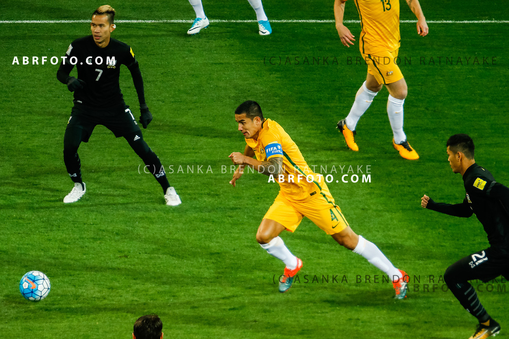MELBOURNE, AUSTRALIA - SEPTEMBER 5 : Tim Cahill of the Australia Socceroos during the Stage 3 Group World Cup Football Qualifiers between Australia Vs Thailand at the Melbourne Rectangular Stadium, Melbourne, Australia 5 September 2017.