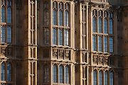 Exterior of windows and architecture of the Palace of Westinster, the seat of the British parliament and where its MPs work, on 17th January 2017, in London England. The old Palace of Westminster was largely destroyed by fire on the night of 16 October 1834 and its replacement was built in a Neo-gothic style, completed in 1858 and is one of the most prominent symbols of both London and England.