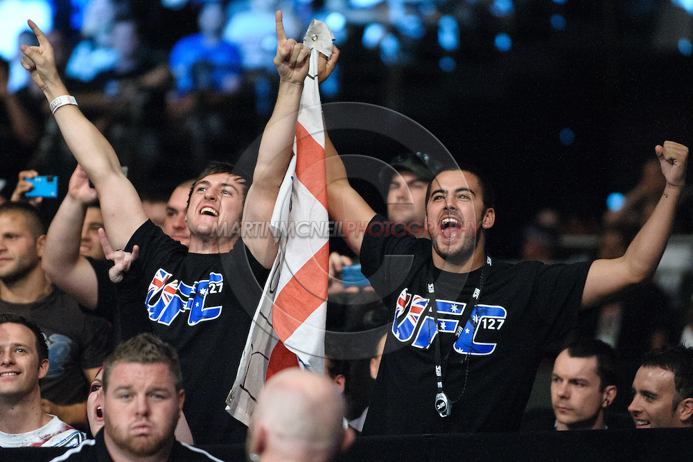 """SYDNEY, AUSTRALIA, FEBRUARY 27, 2011: Fans show their support for Michael Bisping (not pictured) during """"UFC 127: Penn vs. Fitch"""" inside Acer Arena in Sydney, Australia on February 27, 2011."""