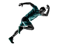 one young man runner jogger running jogging in silhouette isolated on white background