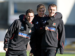 CARDIFF, WALES - Wednesday, October 8, 2008: Wales' xxxx, Aaron Ramsey and Darcy Blake during training at Ninian Park ahead of the UEFA European U21 Championship Play-Off match against England. (Photo by David Rawcliffe/Propaganda)