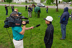 Kentucky Derby 142 winner Nyquist's jockey Mario Gutierez talked to a handful of journalists and fans at his barn on the backside the morning after the race, Sunday, May 08, 2016 at Churchill Downs in Louisville.