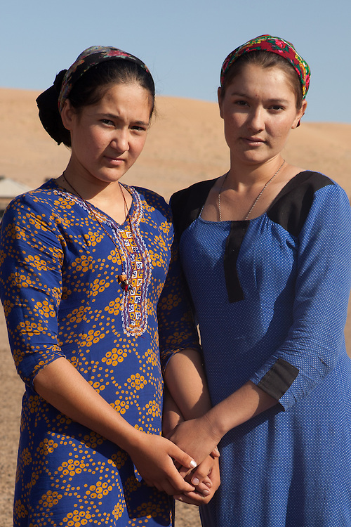 Two young women in a remote village, Karakum Desert, Turkmenistan