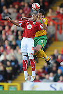 Bristol - Saturday, October 18th, 2008: Nicky Maynard of Bristol City and John Kennedy of Norwich City during the Coca Cola Championship match at Ashton Gate, Bristol. (Pic by Alex Broadway/Focus Images)