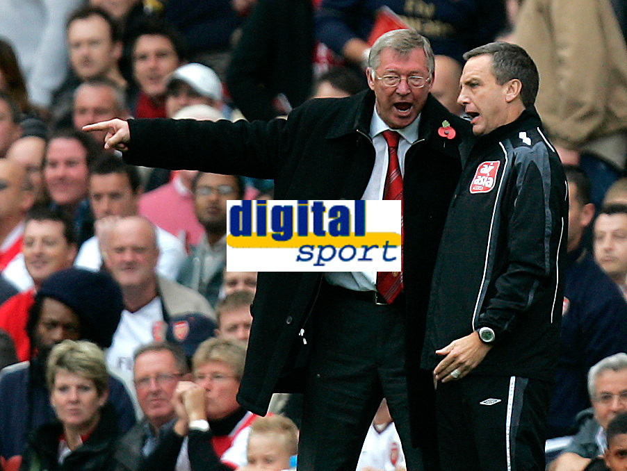 Photo: Tom Dulat/Sportsbeat Images.<br /> <br /> Arsenal v Manchester United. The FA Barclays Premiership. 03/11/2007.<br /> <br /> Manager of Manchester United Sir Alex Ferguson during the game.